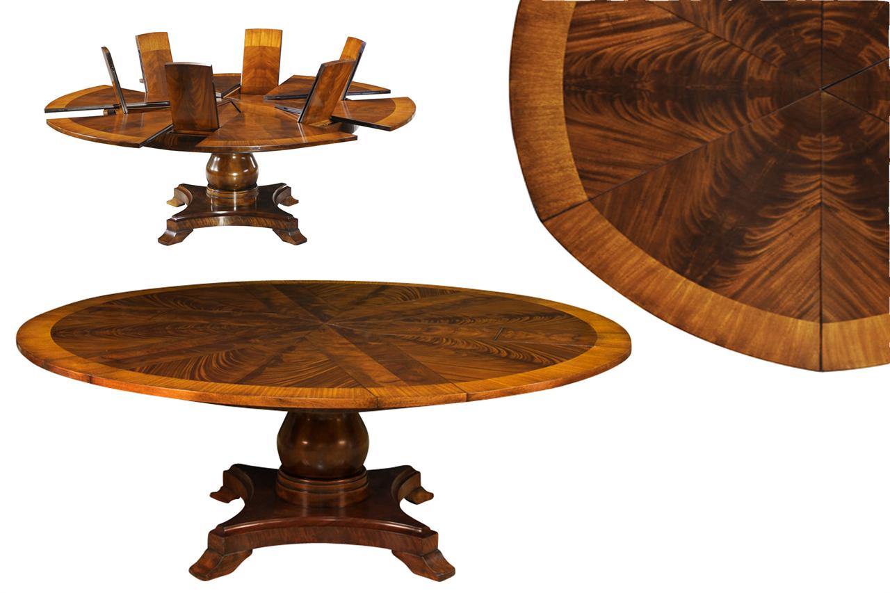 Large Round Expandable Table Satinwood Inlaid Mahogany Pedestal