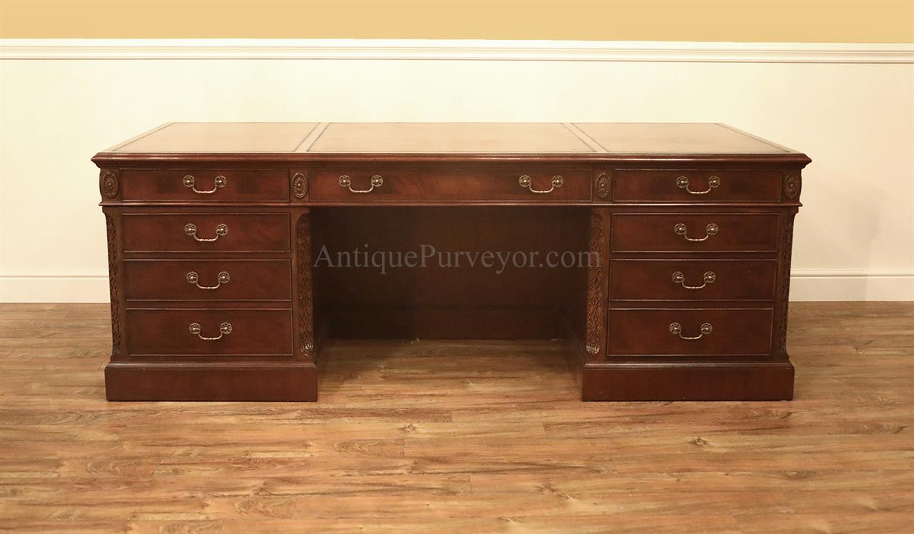 Large Traditional Executive Desk, Fine Antique Reproduction Desk With Oak  Drawers