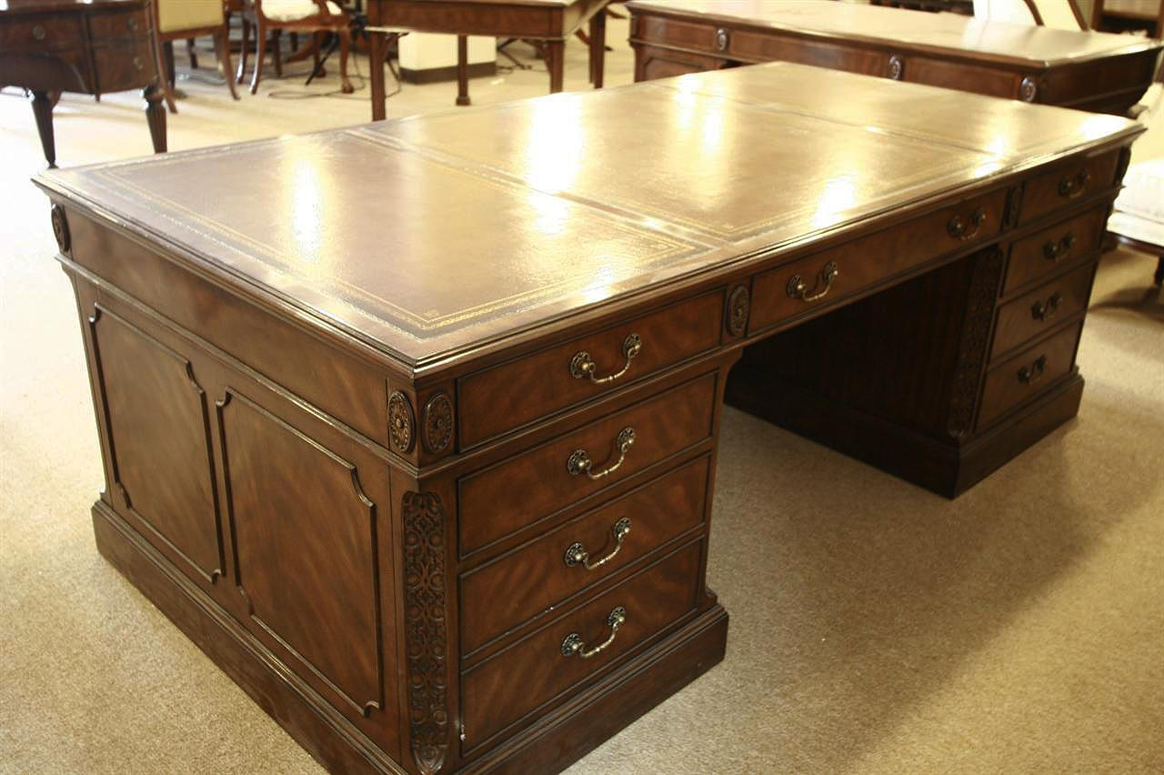 Large antique reproduction executive desk. Seven drawers, two with file  hangers for storage. - High End Executive Leather Top Desk, Mahogany Desk.