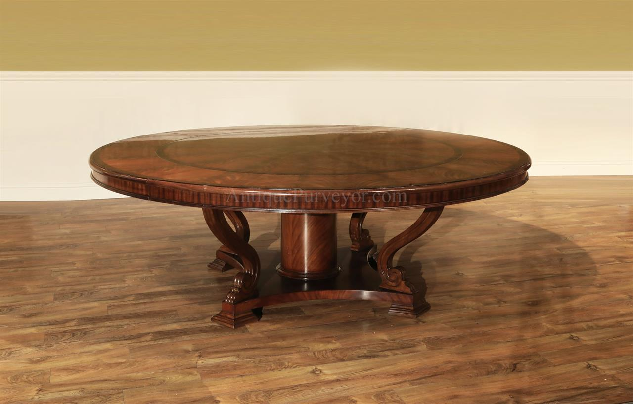Extra Large 88 Round Mahogany Dining Table With Perimeter