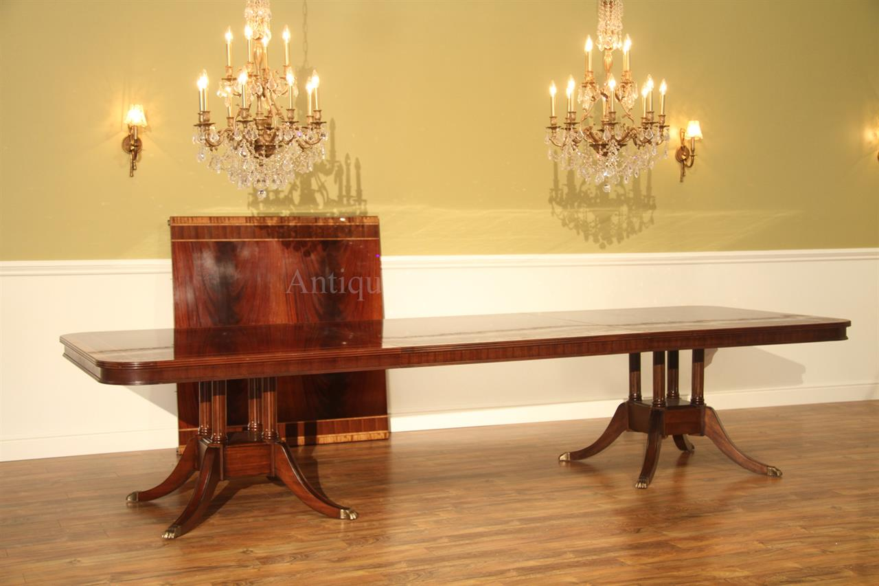 Extra long 16 foot triple pedestal mahogany dining table w for 12 foot long dining room table