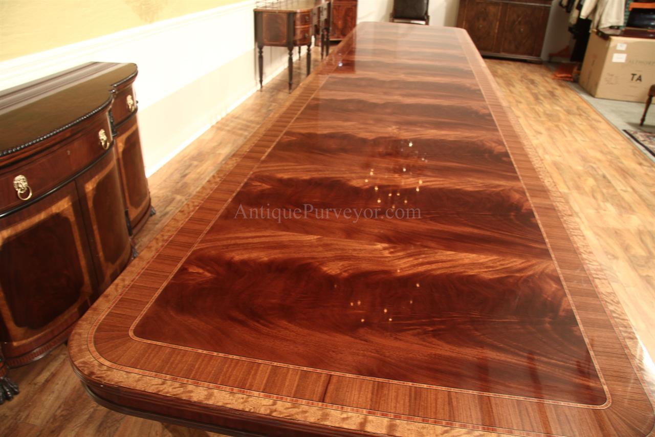 Extra large 16 foot triple pedestal mahogany dining table for Dining room tables seat 16