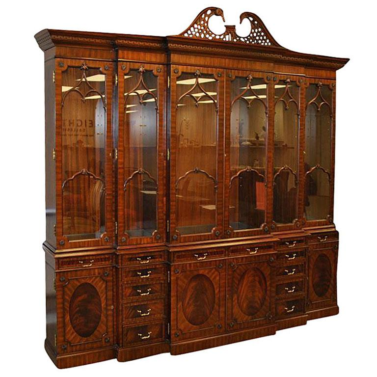Extra Large 6 Door Mahogany China Cabinet with Lights