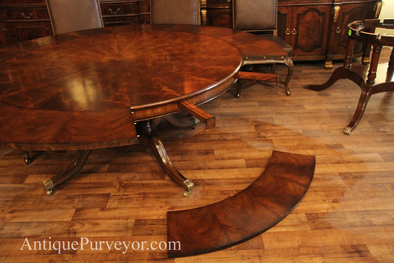 Dining Table With Leaves That Pull Out large 64-88 inch expandable round mahogany dining table