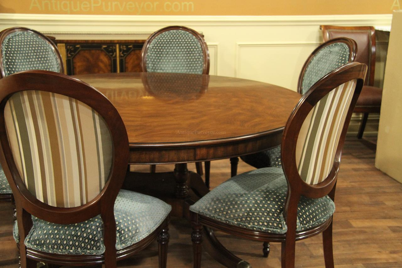 Table Shown With Our Round Back Dining Chair And Custom Upholstery