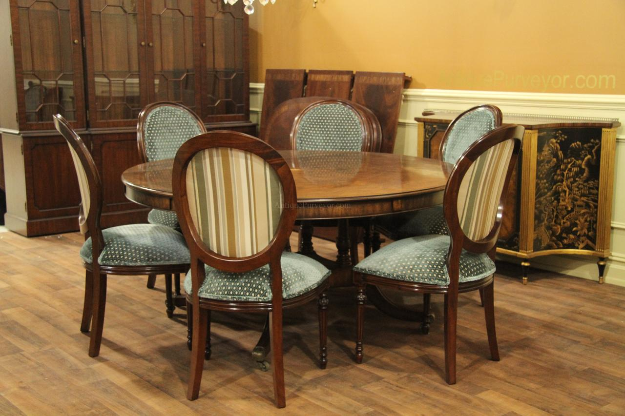 Extra large 64 88 inch round dining table with perimeter for Dining room table with 6 chairs