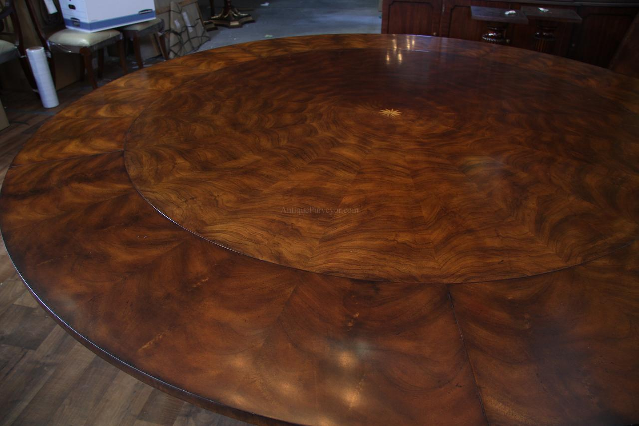 Extra large 64 88 inch round dining table with perimeter for Large round dining table