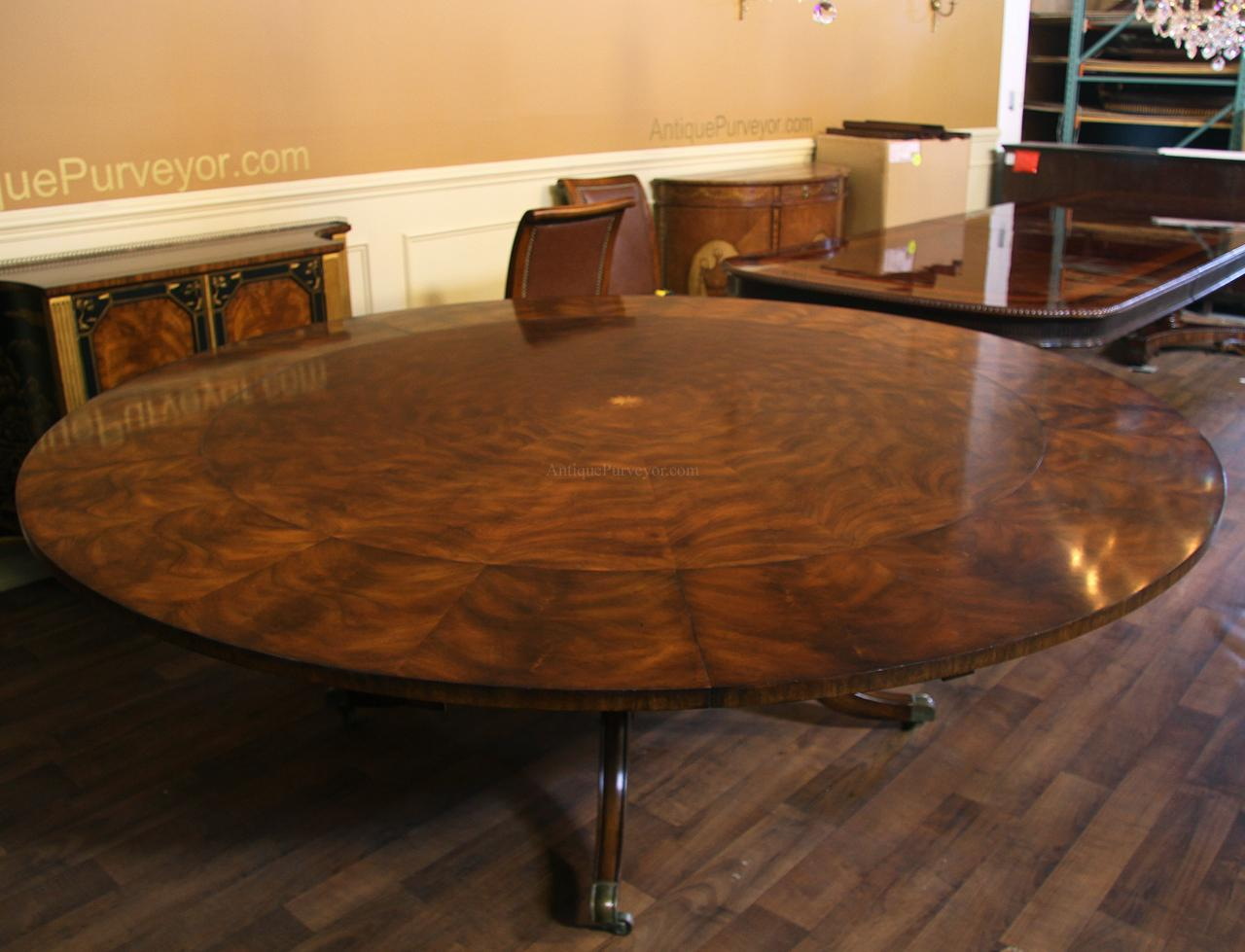 Large 64 88 inch expandable round mahogany dining table - Extra large round dining room tables ...