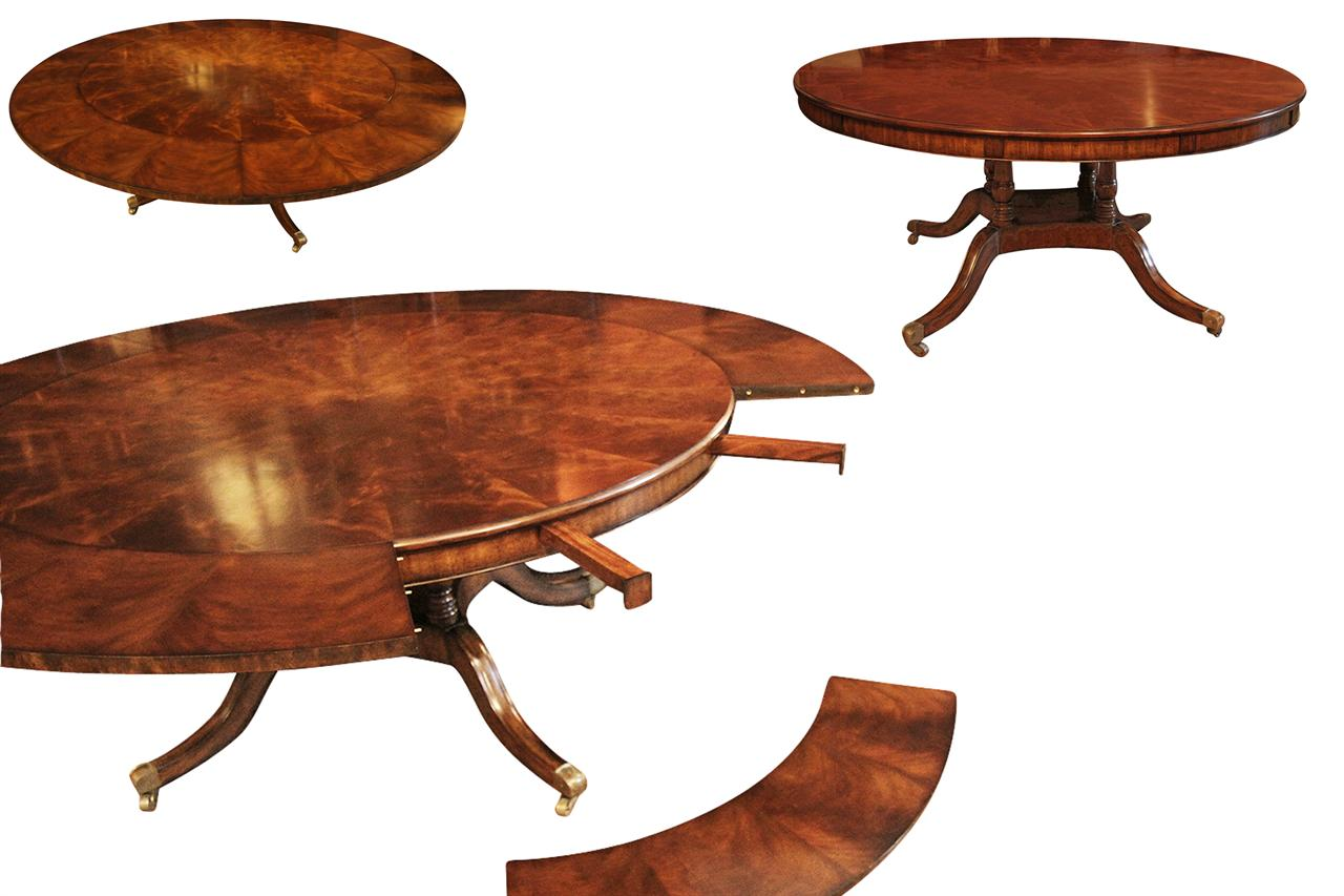 Large 64 88 inch Expandable Round Mahogany Dining Table