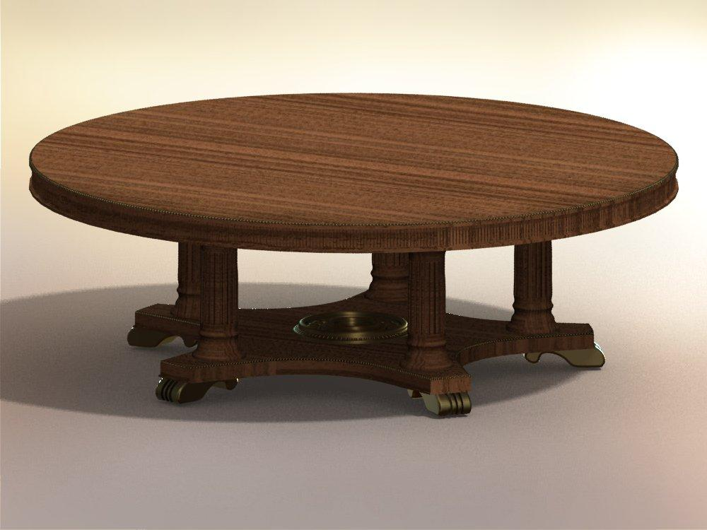 Extra large round dining table on 5 post birdcage pedestal with handcarved solid mahogany feet