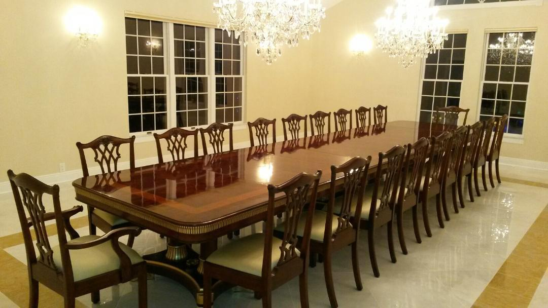 Mahogany dining table designer furniture high end extra for Large dining room table