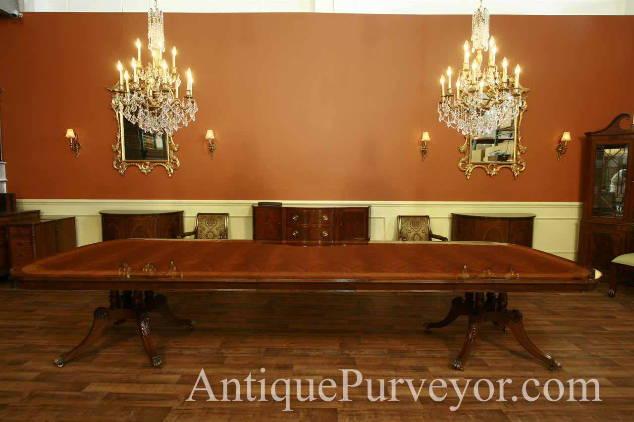 Wonderful Extra Large Antique Reproduction Dining Table Seats 14 16 People. Detailed  Banding And High Shine