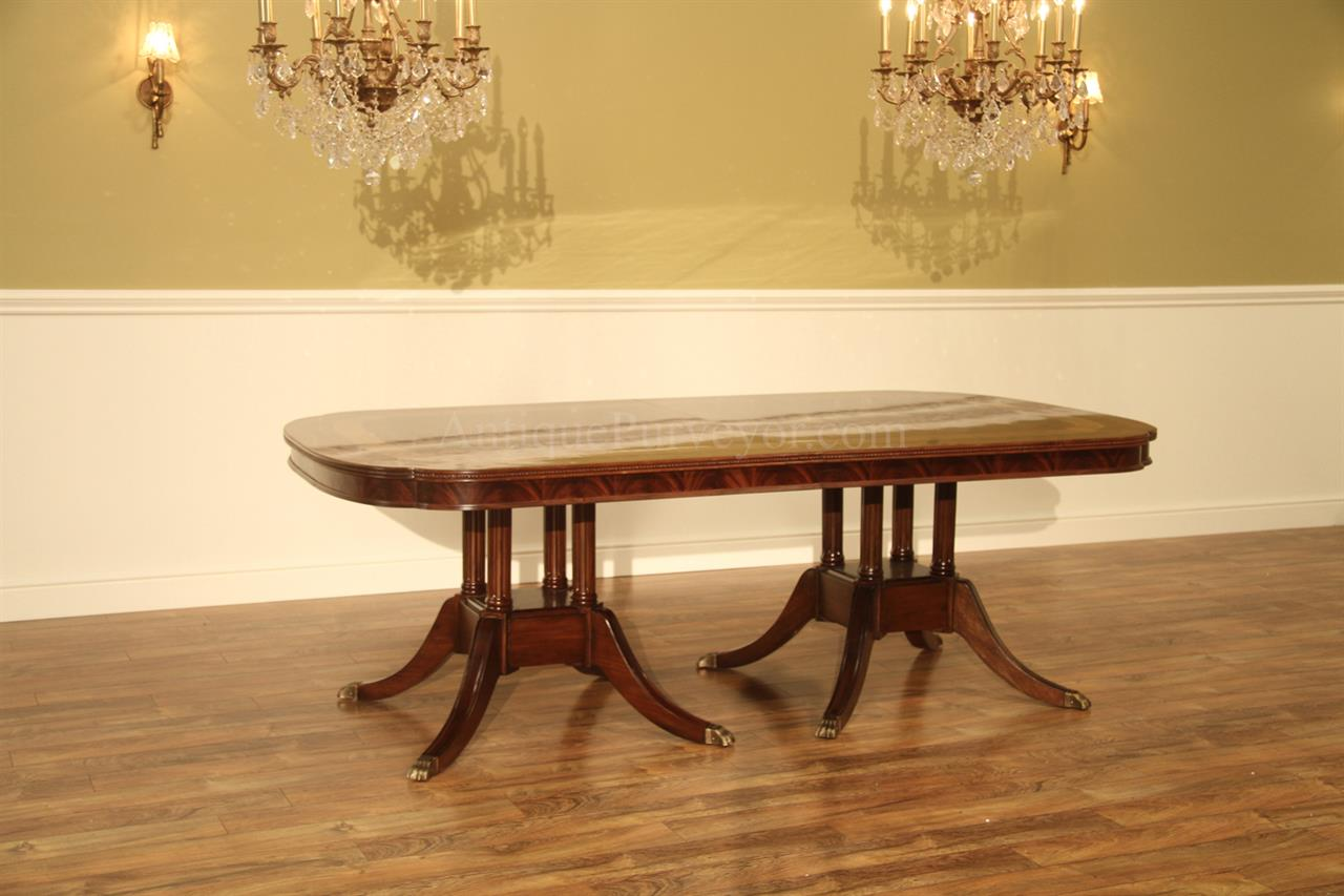 Extra large formal mahogany dining table for traditional for Traditional dining table with bench