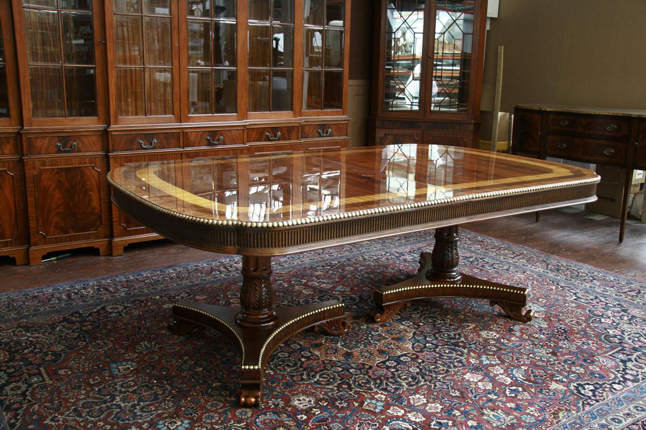 Popular Gold Leaf Accented Extra Large American Made Dining Table GN24