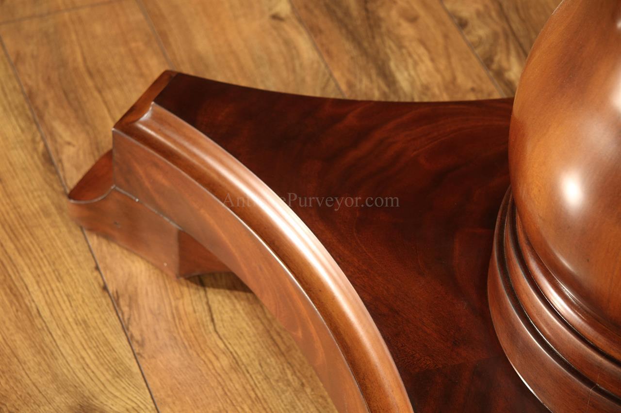 Large Round Mahogany Jupe Dining Table Seats 10 12
