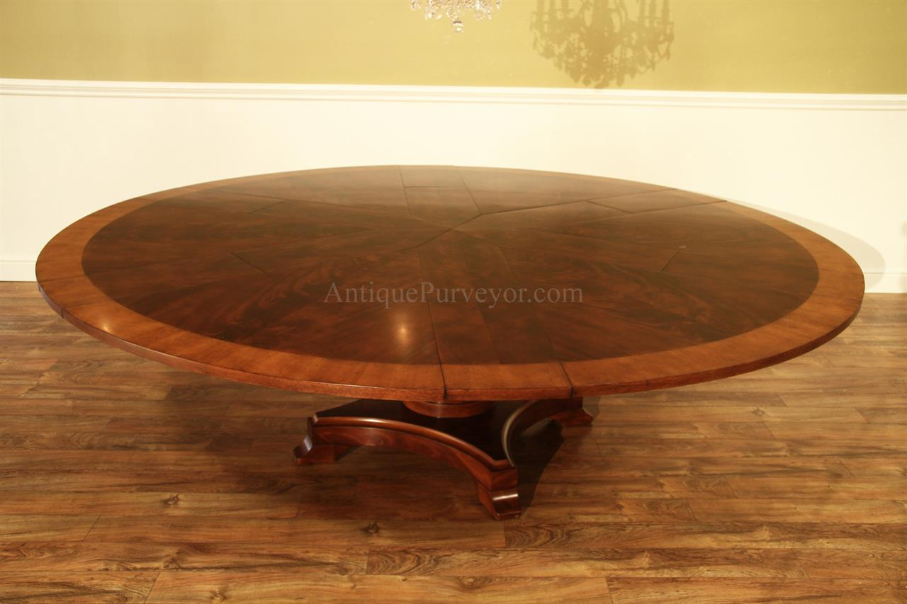 Large Round Mahogany Jupe Dining Table Seats 10 12