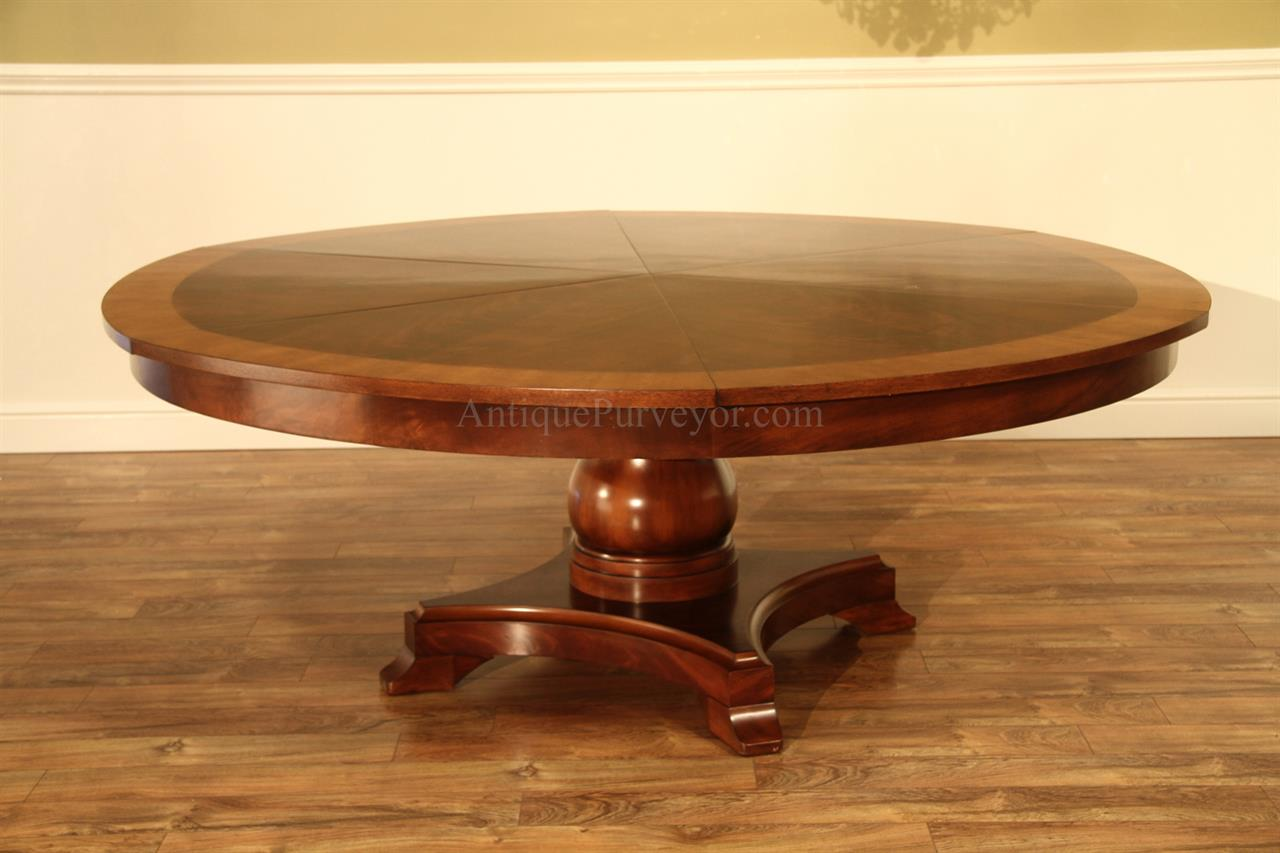 Large round mahogany jupe dining table seats 10 12 for Large dining table seats 10