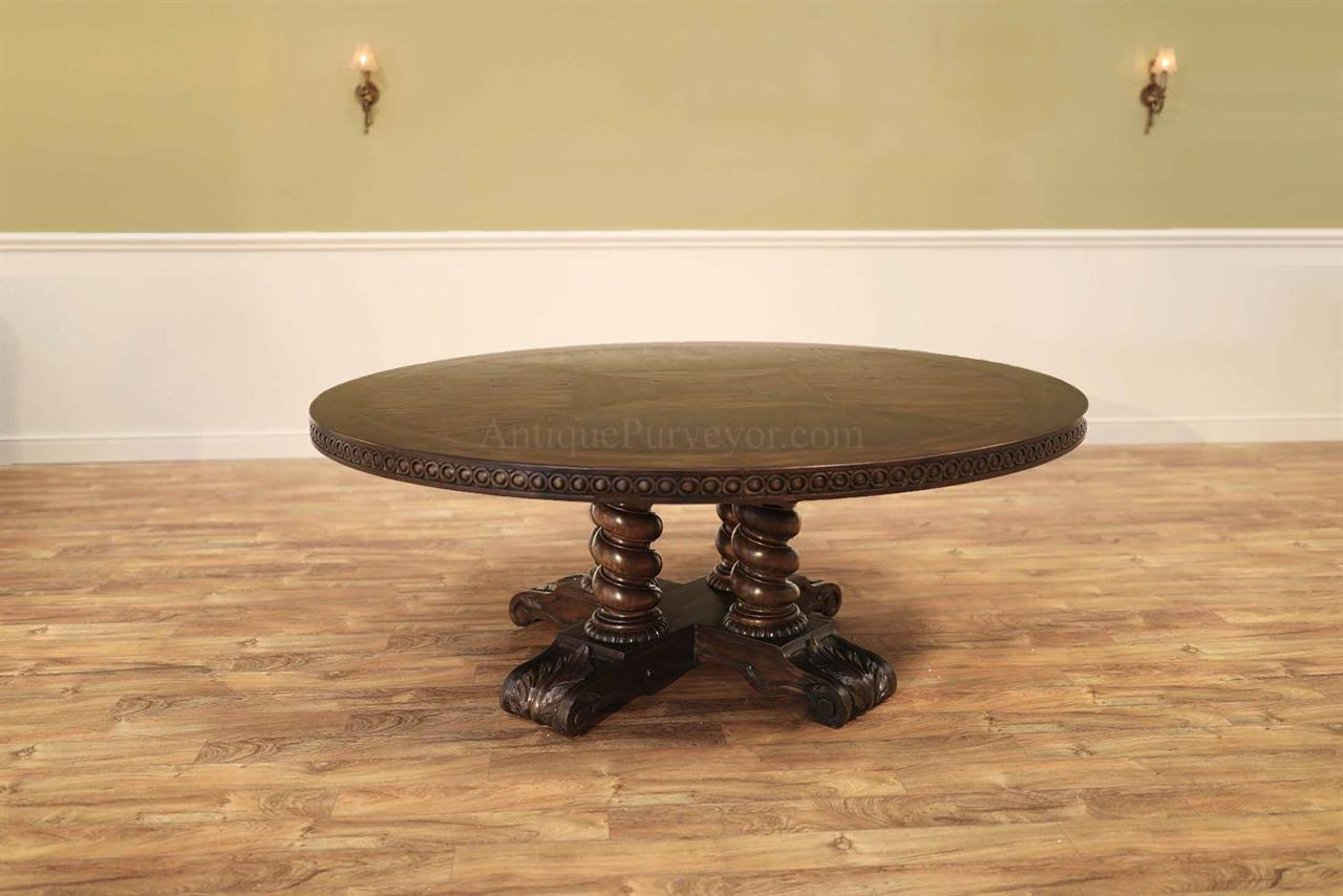 Picture of: Large Round Walnut Dining Table Rustic Casual Finish