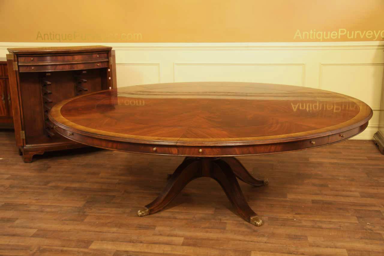 Extra Large Round Mahogany Perimeter Table And Buffet