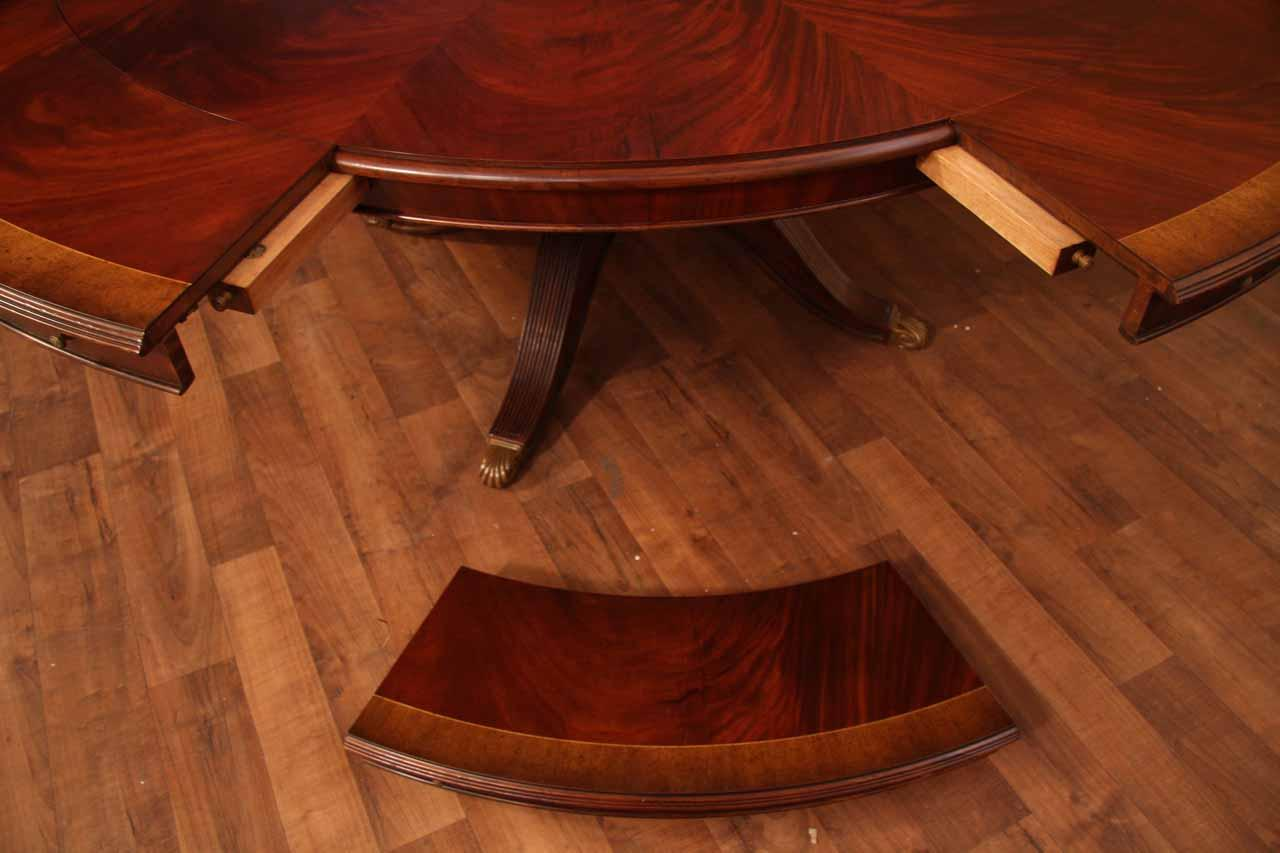 extra large round mahogany perimeter table and buffet. Black Bedroom Furniture Sets. Home Design Ideas