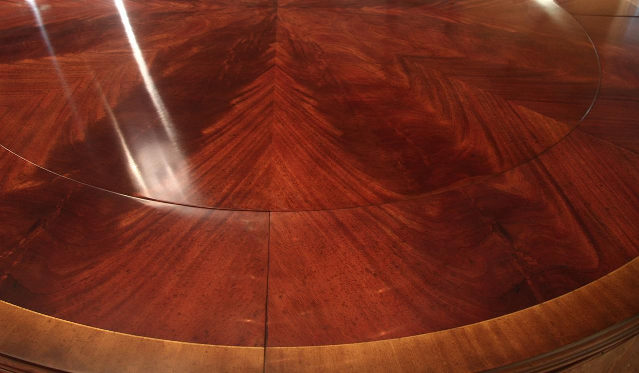 Extra Large Antique Reproduction Round Dining Table And Buffet For Leaf Storage