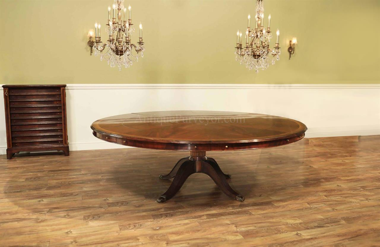 - Extra Large Round Mahogany Perimeter Table And Buffet