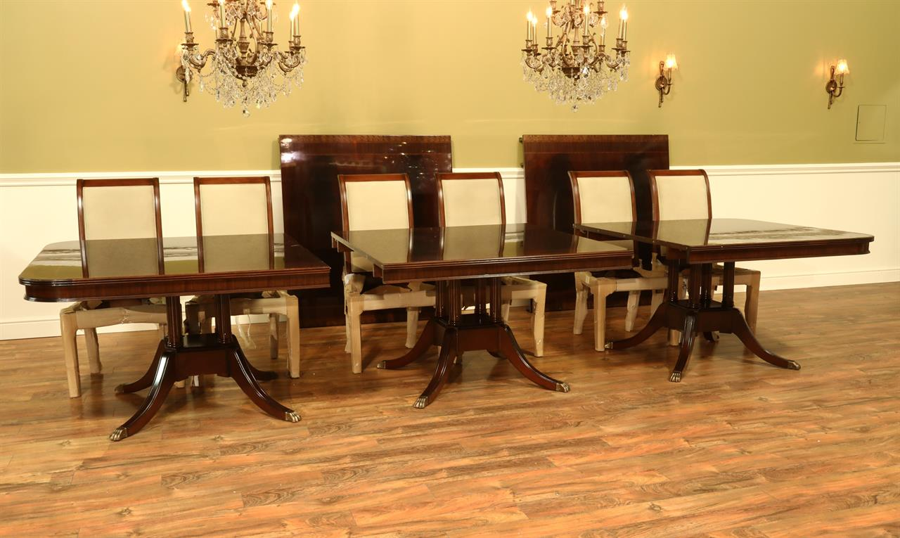 Extra Large Foot Triple Pedestal Mahogany Dining Table - 20 foot conference table