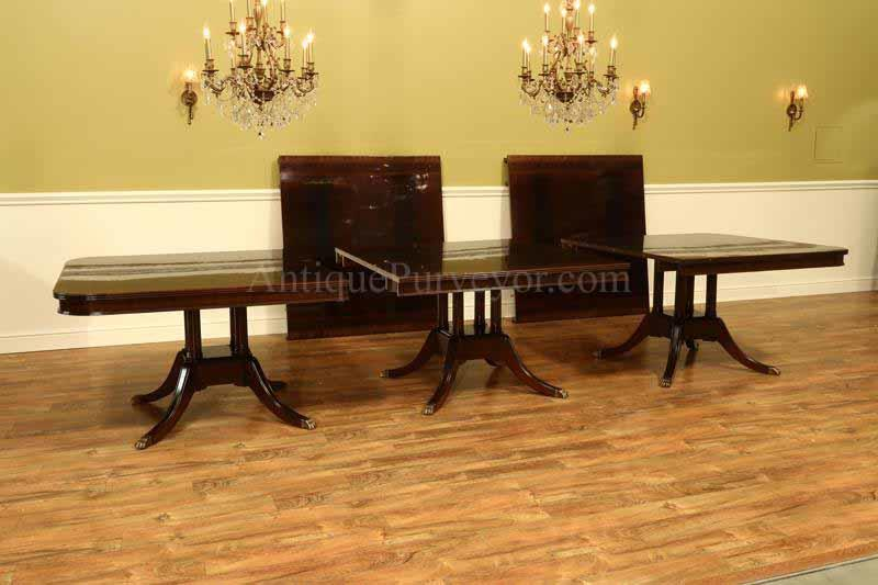 Extra Large Triple Pedestal Extension Table Seats 14 To 24 People