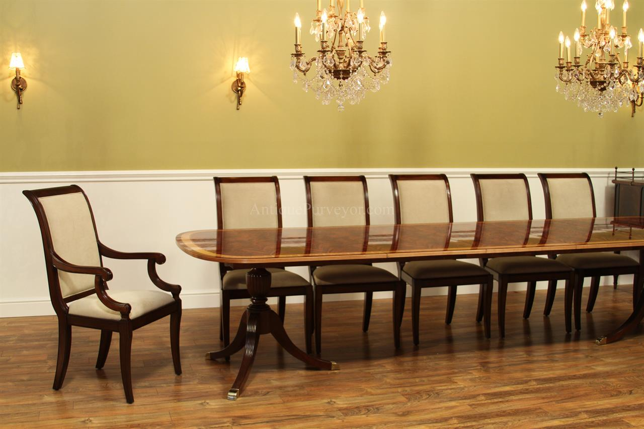 Fine american finished mahogany dining table seats 14 for 14 seater dining table