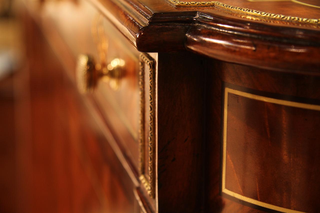Narrow Mahogany Regency Buffet Or Console Table With Brass