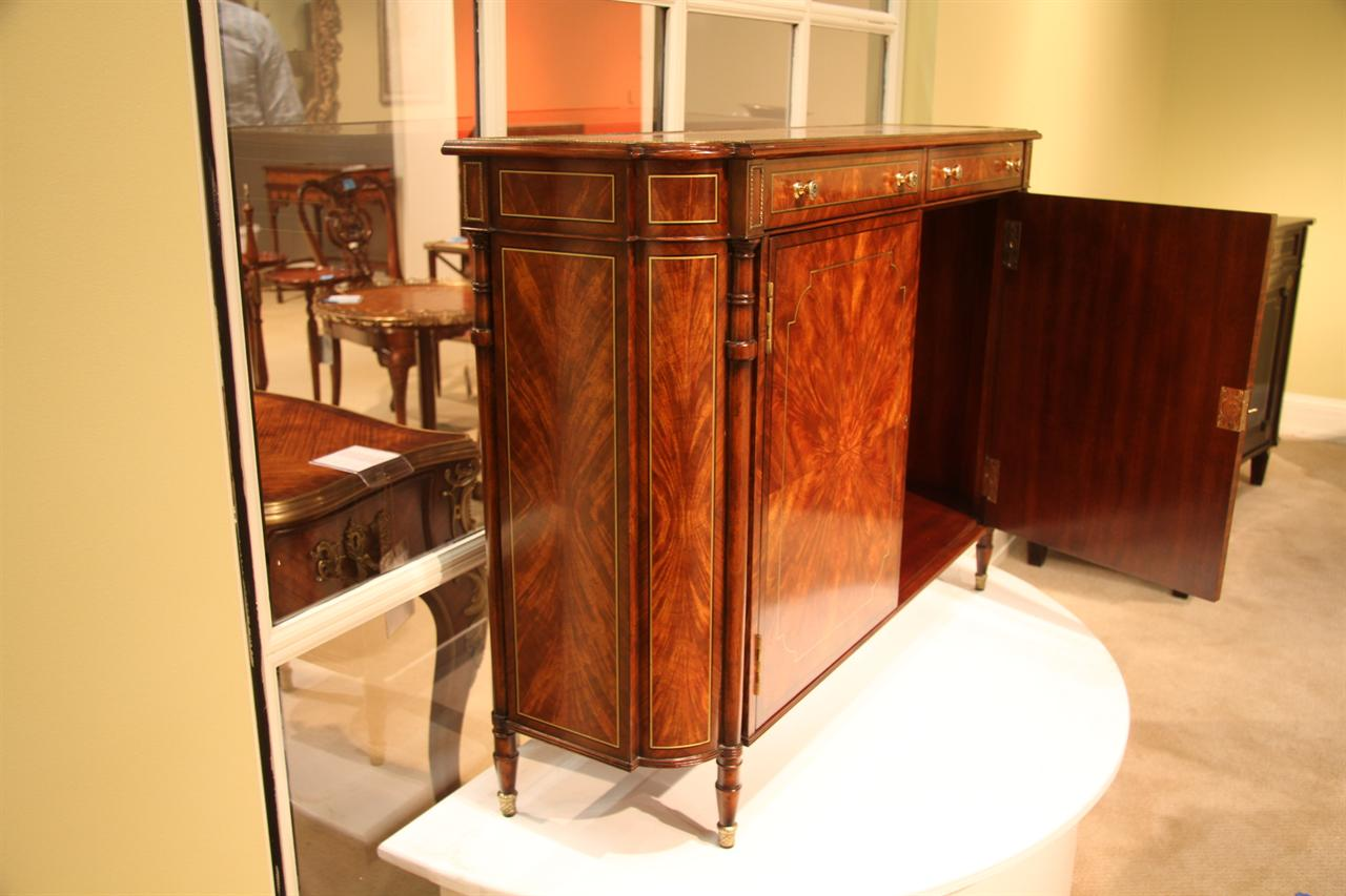 Picture of: Narrow Mahogany Regency Buffet Or Console Table With Brass Inlay