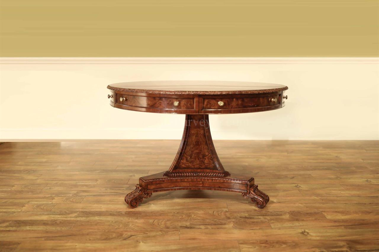 Mahogany Center Table With Elm Burl And Brass Floral Inlay