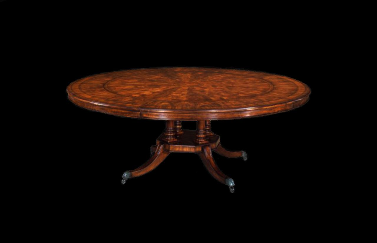 Antique Reproduction Round Mahogany Dining Table Expands From 56 80 With Perimeter Leaves