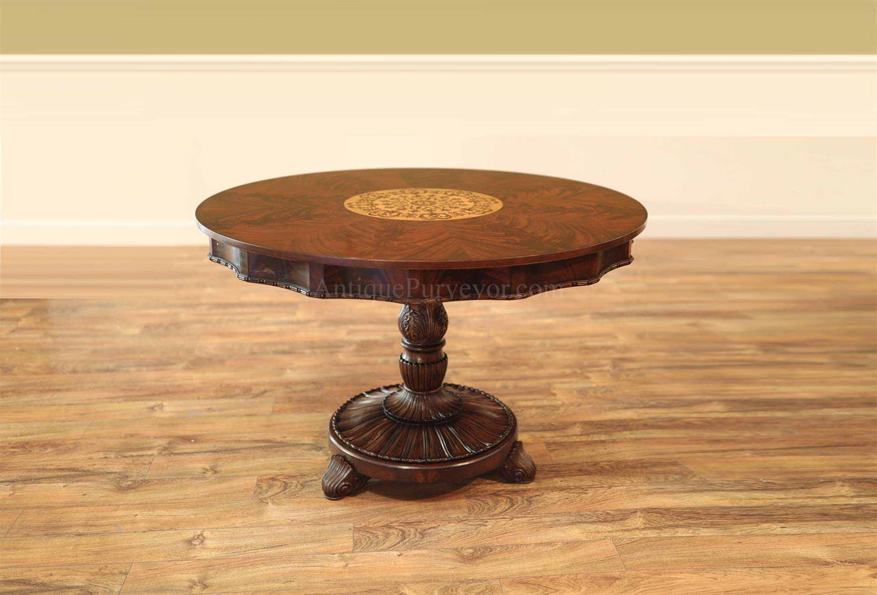 Finley Inlaid Mahogany Center Table or Breakfast Table