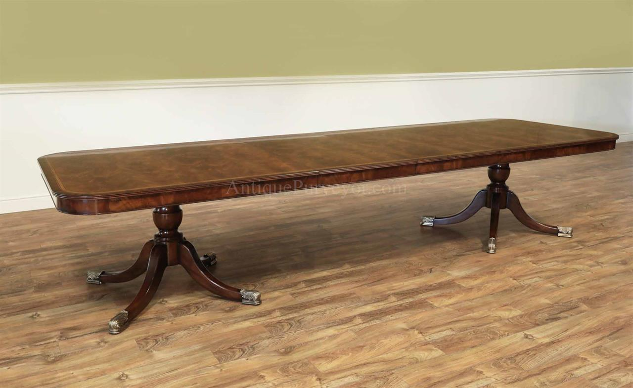 Flame Mahogany Dining Table for Seating 8-14 People, 12 Foot Table