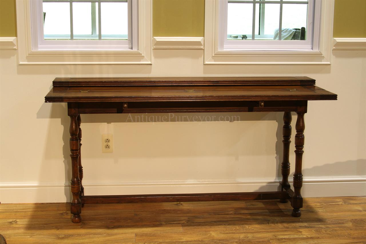 Flip Top Console Table. Rustic, Solid Walnut Country Farm Table