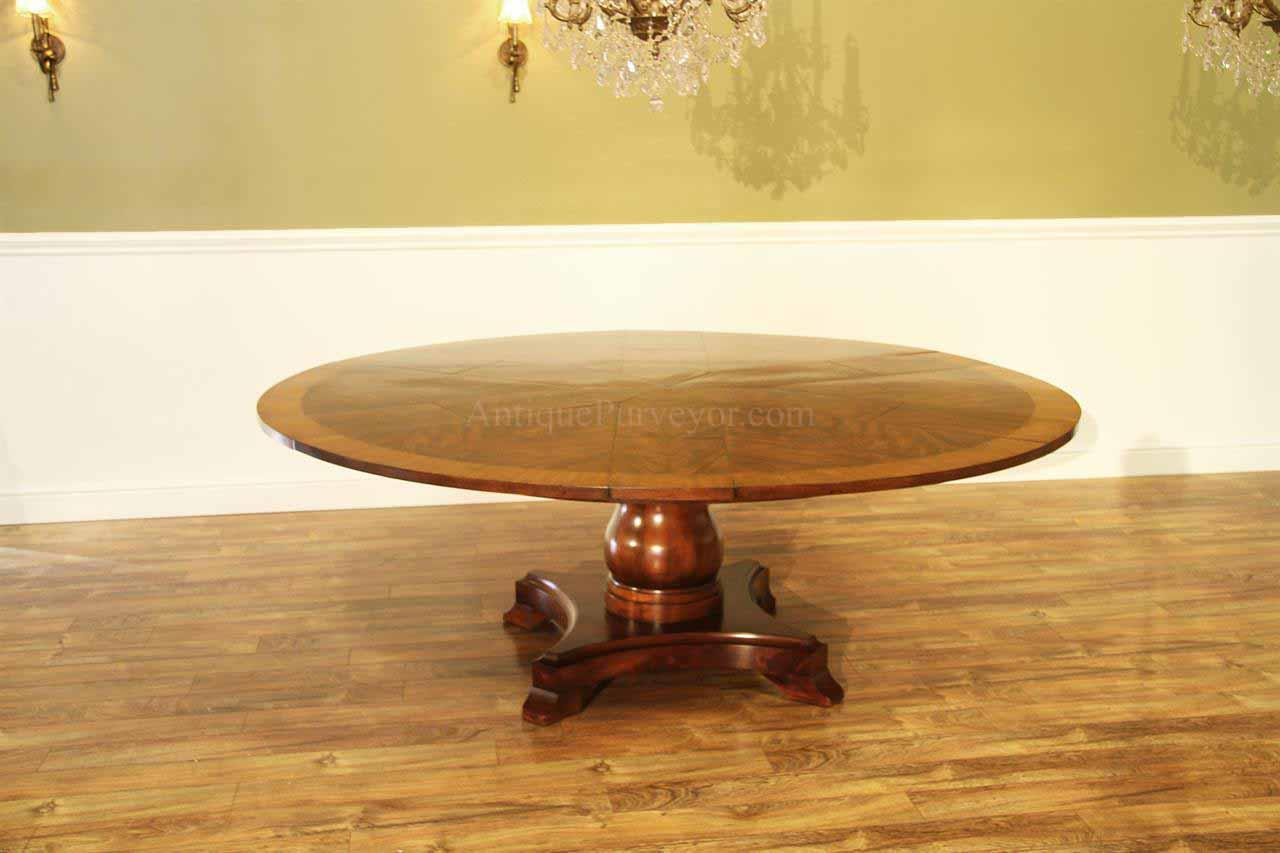 Formal and Traditional Jupe Table, Mahogany Finished Solid Wood