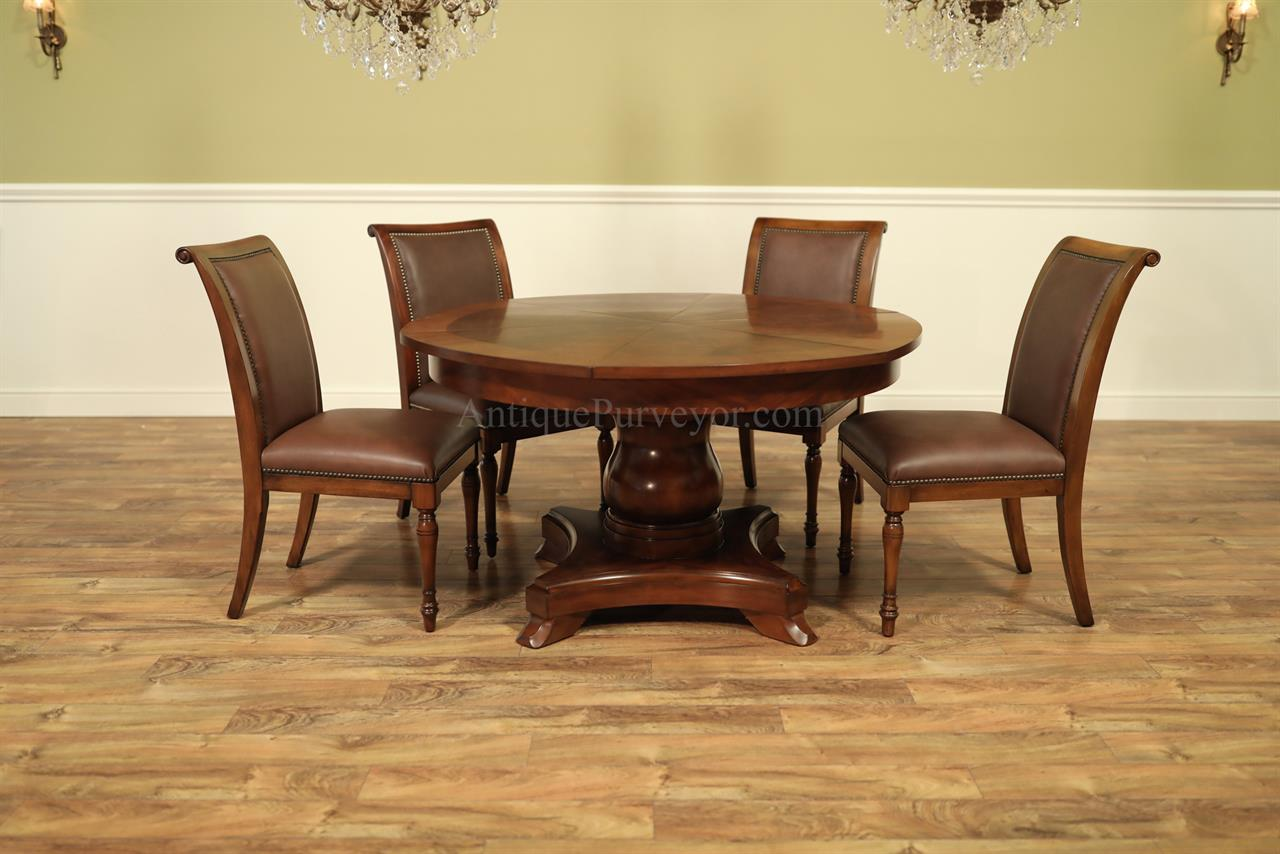 Formal Jupe Table Round Mahogany Dining Table With Leaves