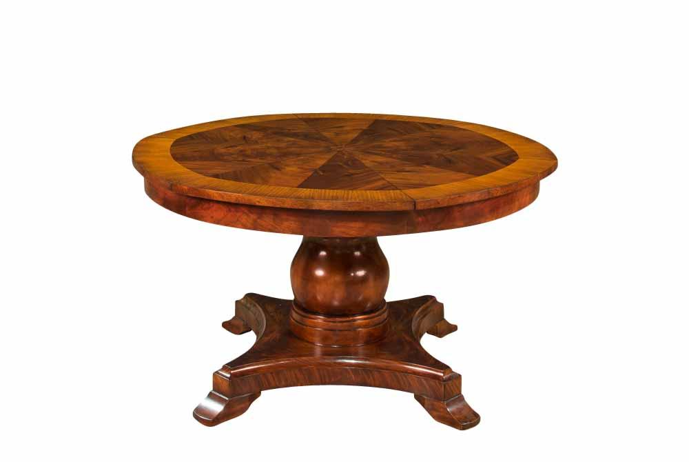 Formal Round To Round Mahogany Jupe Table W/ Self Storing Leaves