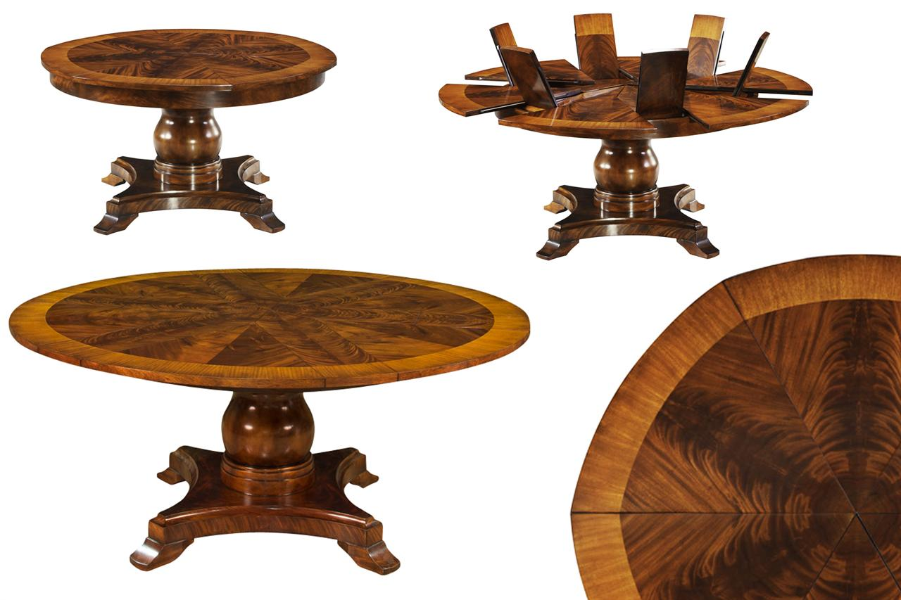 Formal jupe table round mahogany dining table with leaves for Round pedestal table with leaf
