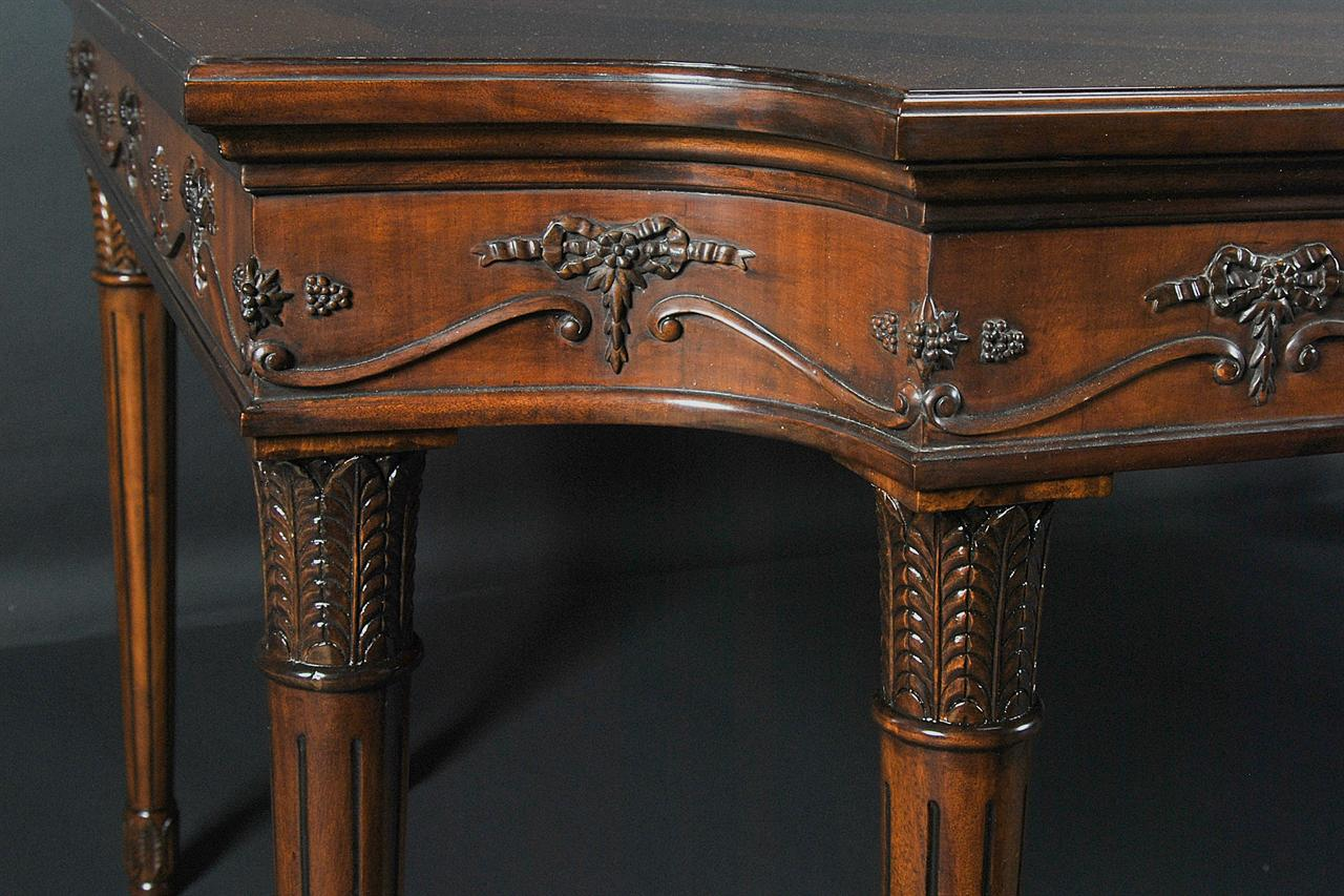 French dining table with Louis XVI style legs and Neoclassical carvings - French Dining Table Louis XVI Neoclassical Elegant Furniture