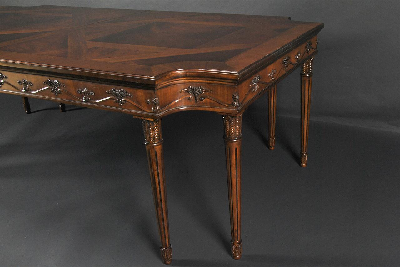 mahogany dining table with cut corners herringbone inlays handcarved