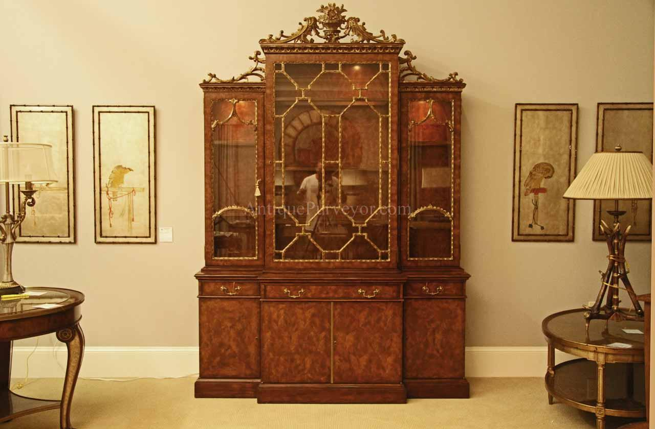 Fine Antique Reproduction French China Cabinet With Gold Leaf