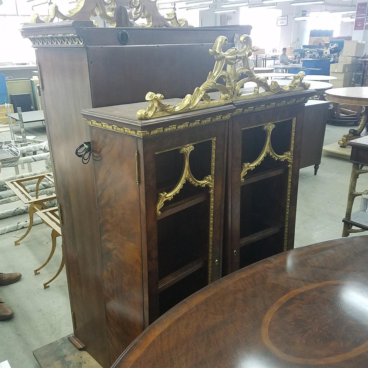 Antique reproduction mahogany china cabinet. Cabinet shown in production at  factory - Fine Antique Reproduction French China Cabinet With Gold Leaf