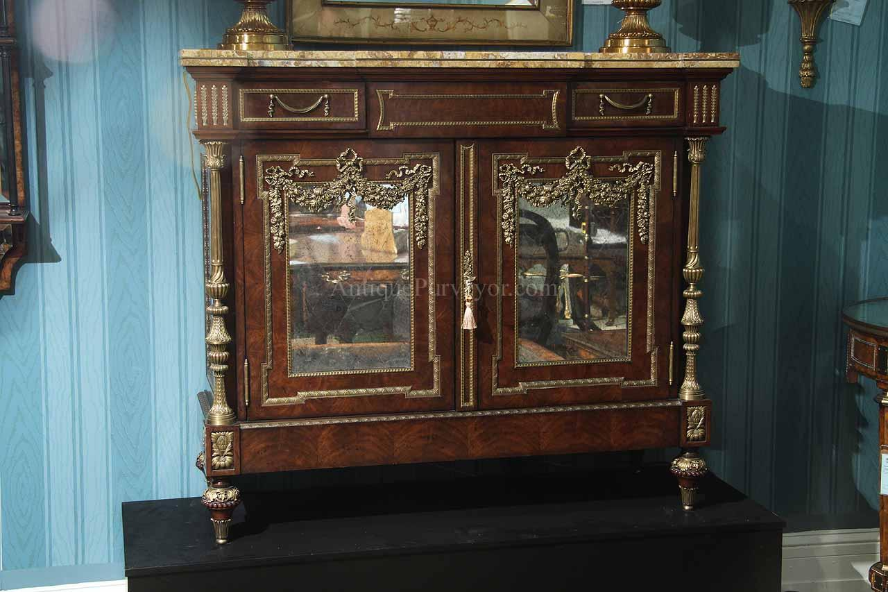 french dining room server or side cabinet with brass mounting