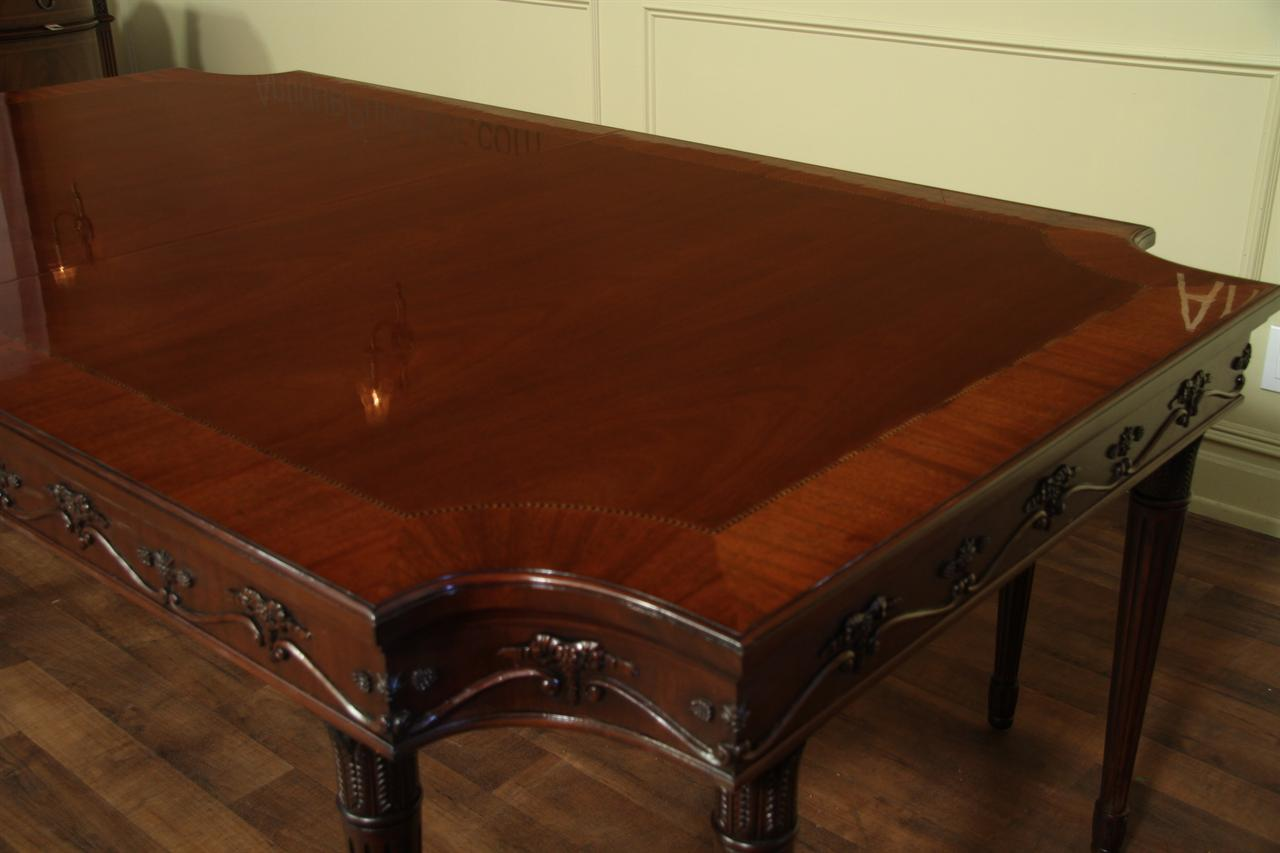 French Style Neoclassical 8 Leg Mahogany Dining Table With 3 Leaves