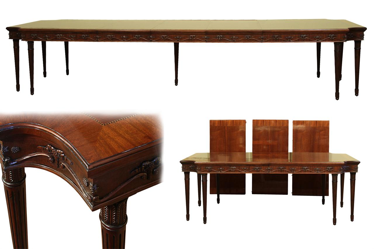 French style neoclassical 8 leg mahogany dining table with for 3 leaf dining room tables