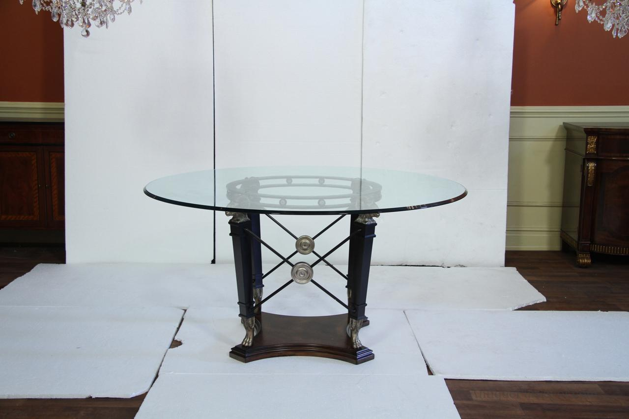Transitional Round Glass Top Table Silver Black Ram Heads
