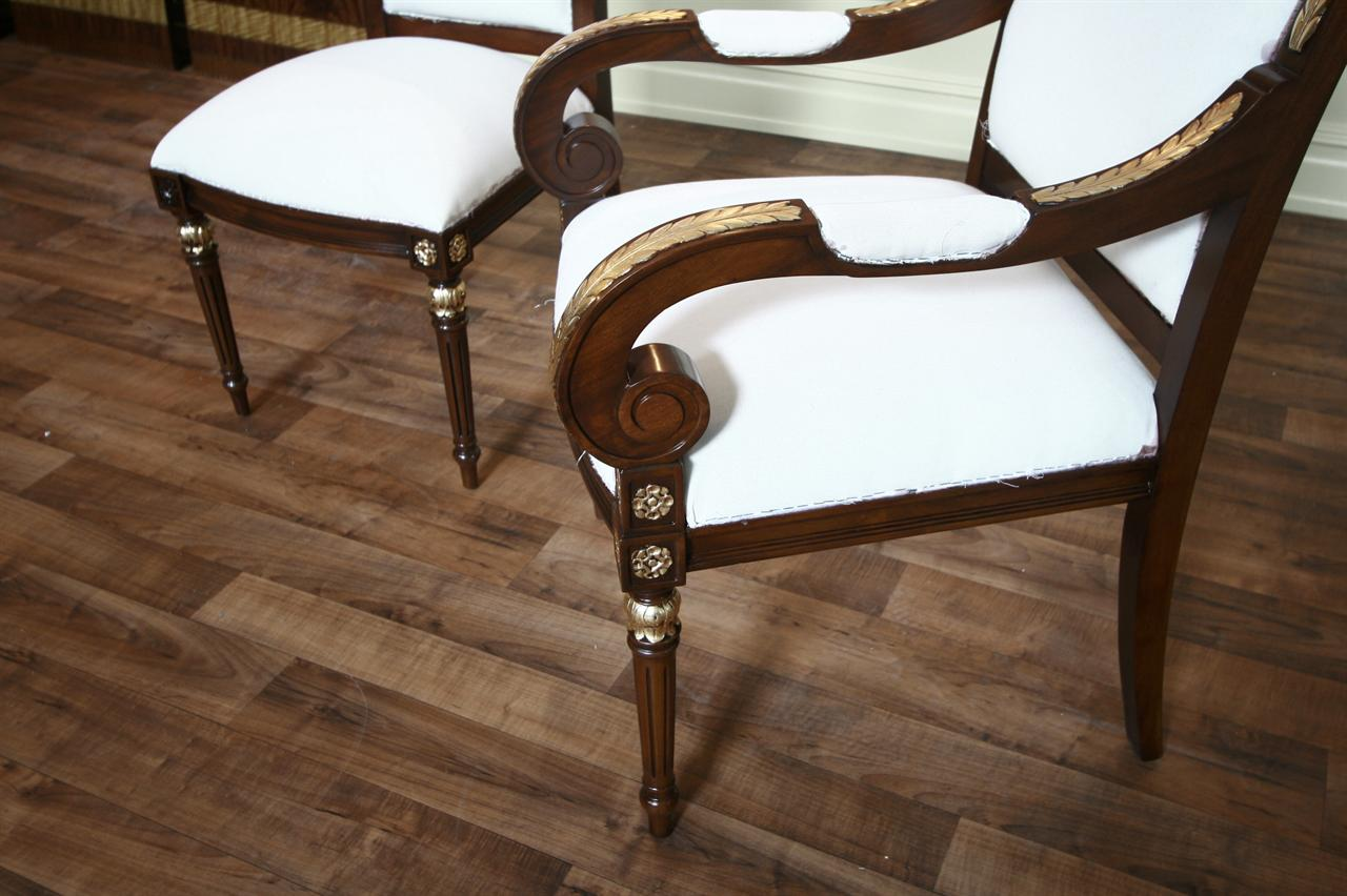 gold leaf dining chairs luxury furniture mahogany dining chairs