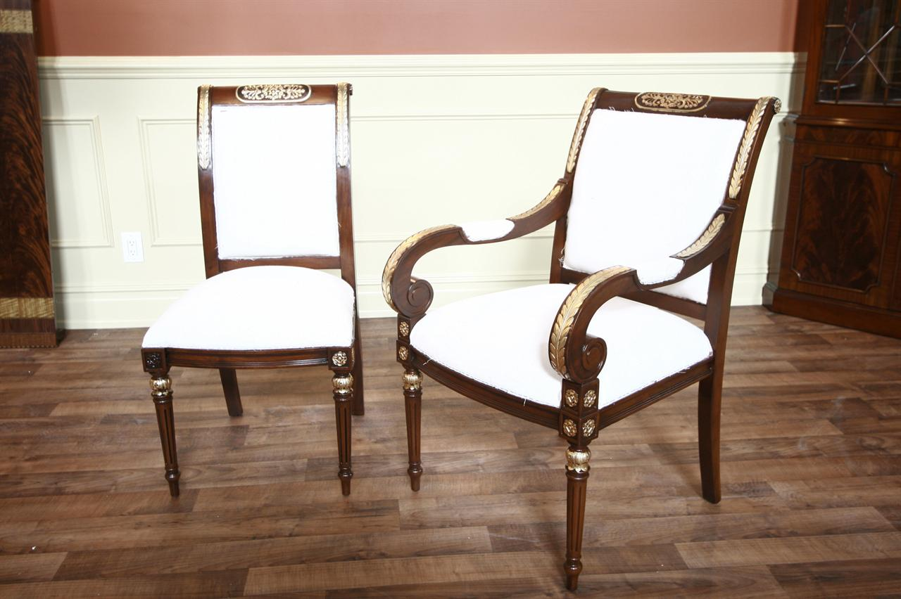 Gold Leaf Dining Chairs | Luxury Furniture | Mahogany Dining Chairs
